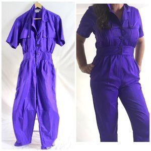 Vintage 80s Purple Short Sleeve Jumpsuit Fits Sz 8